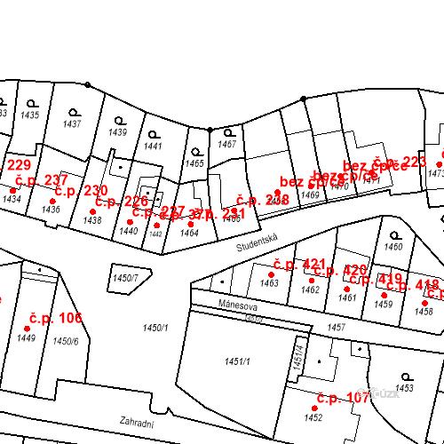 Katastrální mapa Stavební objekt Bučovice 238, Bučovice