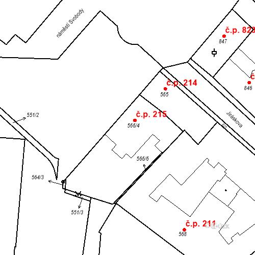 Katastrální mapa Stavební objekt Bučovice 215, Bučovice