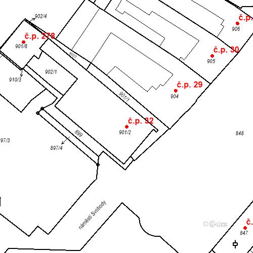 Katastrální mapa Stavební objekt Bučovice 32, Bučovice