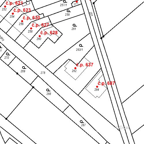 Katastrální mapa Stavební objekt Bučovice 637, Bučovice