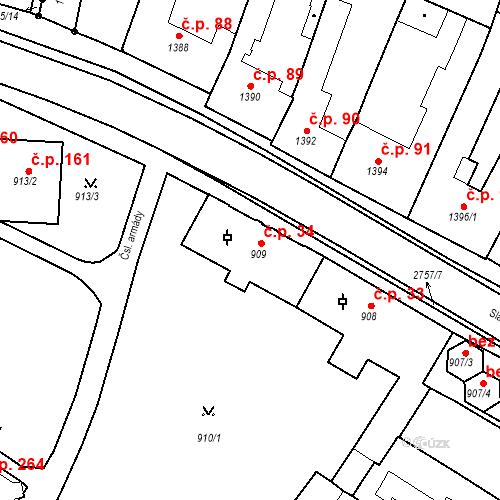 Katastrální mapa Stavební objekt Bučovice 34, Bučovice