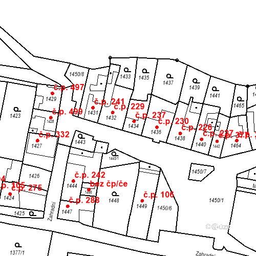 Katastrální mapa Stavební objekt Bučovice 237, Bučovice