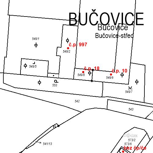 Katastrální mapa Stavební objekt Bučovice 18, Bučovice