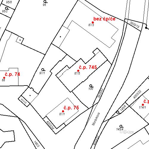 Katastrální mapa Stavební objekt Dědice 745, Vyškov