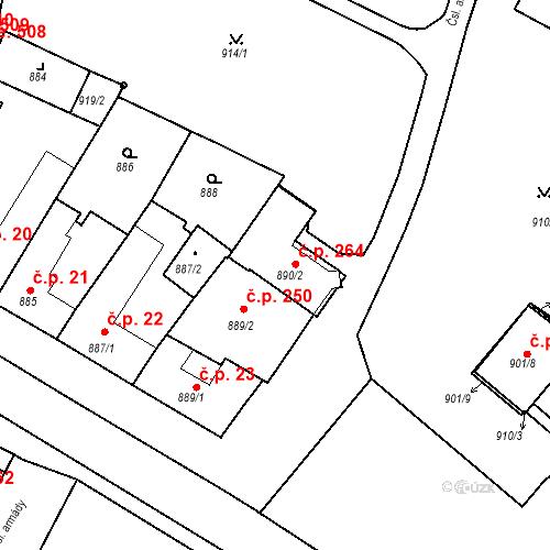 Katastrální mapa Stavební objekt Bučovice 264, Bučovice