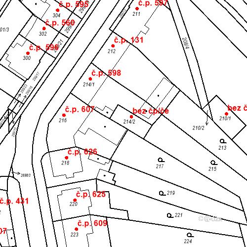 Katastrální mapa Stavební objekt Bučovice 634, Bučovice