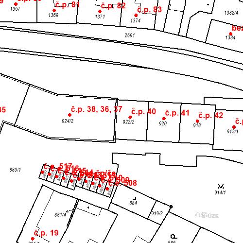 Katastrální mapa Stavební objekt Bučovice 40, Bučovice