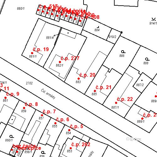 Katastrální mapa Stavební objekt Bučovice 20, Bučovice