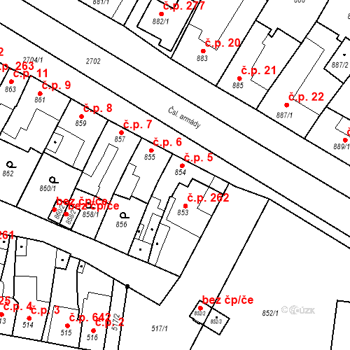 Katastrální mapa Stavební objekt Bučovice 5, Bučovice