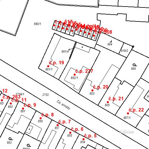 Katastrální mapa Stavební objekt Bučovice 277, Bučovice
