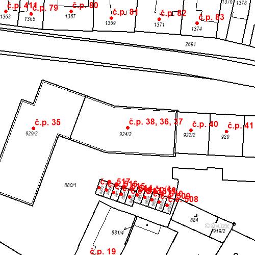 Katastrální mapa Stavební objekt Bučovice 36, 37, 38, Bučovice