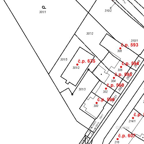 Katastrální mapa Stavební objekt Bučovice 635, Bučovice