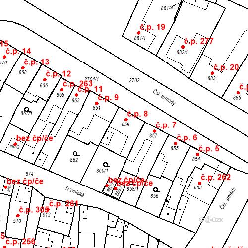 Katastrální mapa Stavební objekt Bučovice 8, Bučovice
