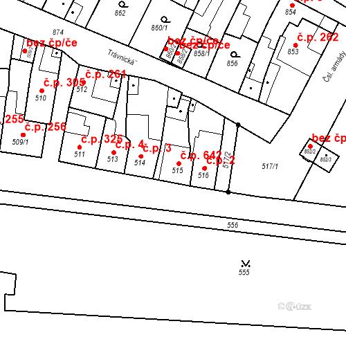 Katastrální mapa Stavební objekt Bučovice 642, Bučovice