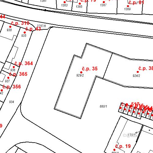 Katastrální mapa Stavební objekt Bučovice 35, Bučovice