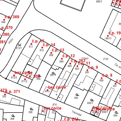 Katastrální mapa Stavební objekt Bučovice 12, Bučovice