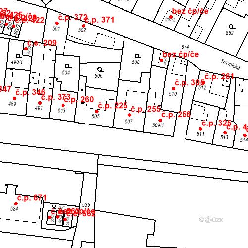 Katastrální mapa Stavební objekt Bučovice 255, Bučovice