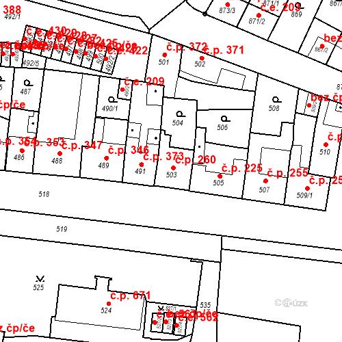 Katastrální mapa Stavební objekt Bučovice 260, Bučovice