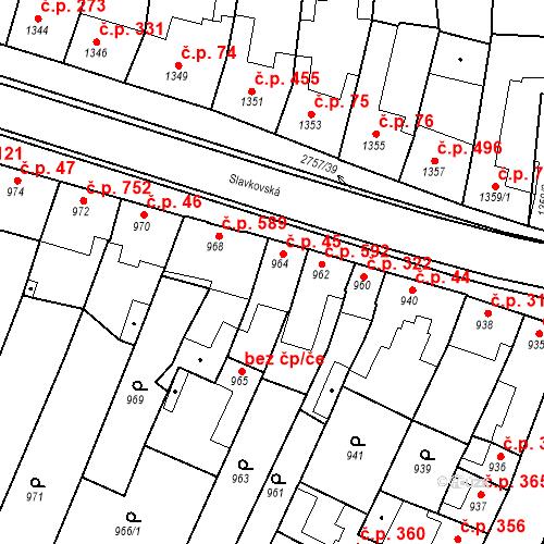 Katastrální mapa Stavební objekt Bučovice 45, Bučovice