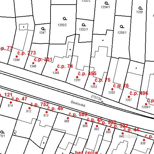 Katastrální mapa Stavební objekt Bučovice 455, Bučovice