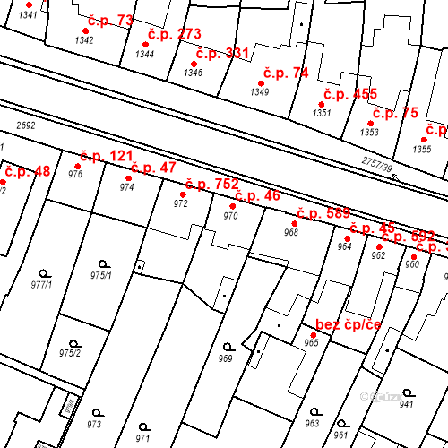 Katastrální mapa Stavební objekt Bučovice 46, Bučovice