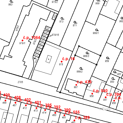 Katastrální mapa Stavební objekt Bučovice 16, Bučovice