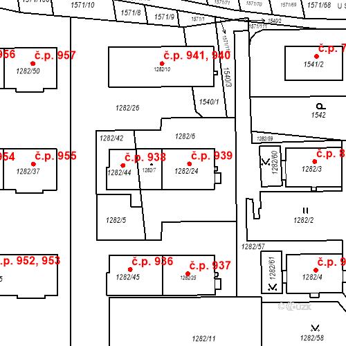 Katastrální mapa Stavební objekt Bučovice 939, Bučovice