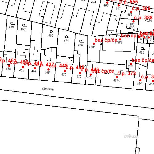 Katastrální mapa Stavební objekt Bučovice 446, Bučovice