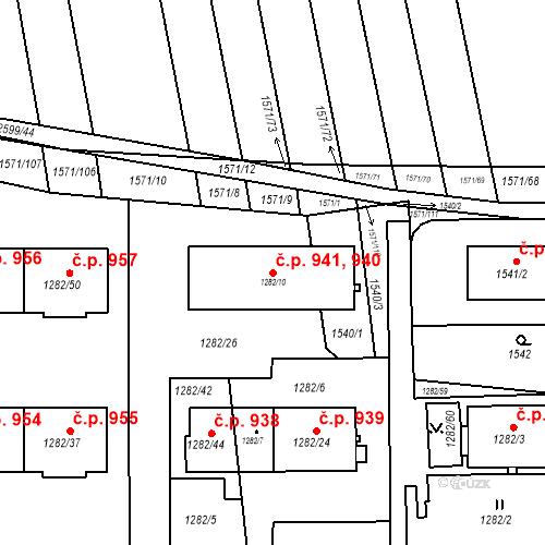 Katastrální mapa Stavební objekt Bučovice 940, 941, Bučovice