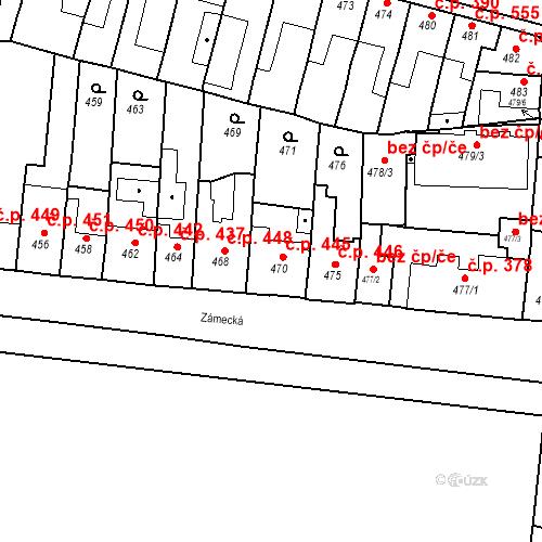 Katastrální mapa Stavební objekt Bučovice 445, Bučovice
