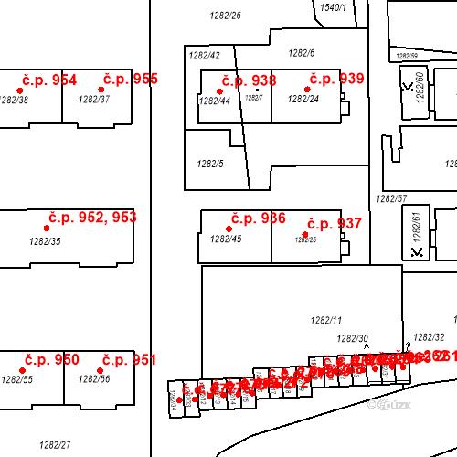 Katastrální mapa Stavební objekt Bučovice 936, Bučovice