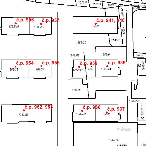 Katastrální mapa Stavební objekt Bučovice 938, Bučovice