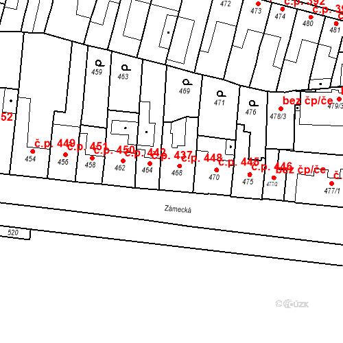 Katastrální mapa Stavební objekt Bučovice 448, Bučovice