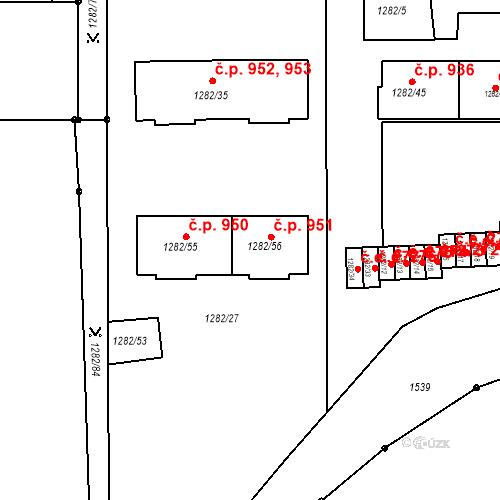 Katastrální mapa Stavební objekt Bučovice 951, Bučovice