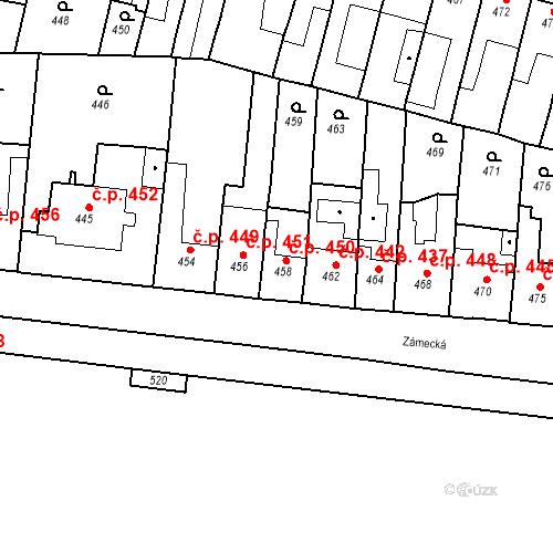 Katastrální mapa Stavební objekt Bučovice 450, Bučovice