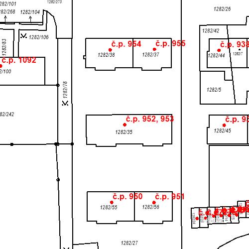 Katastrální mapa Stavební objekt Bučovice 952, 953, Bučovice
