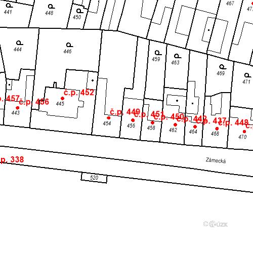 Katastrální mapa Stavební objekt Bučovice 451, Bučovice