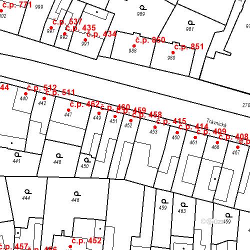 Katastrální mapa Stavební objekt Bučovice 458, Bučovice
