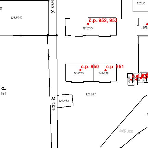 Katastrální mapa Stavební objekt Bučovice 950, Bučovice