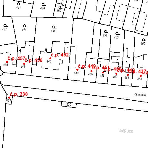 Katastrální mapa Stavební objekt Bučovice 449, Bučovice