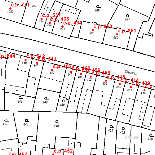 Katastrální mapa Stavební objekt Bučovice 459, Bučovice