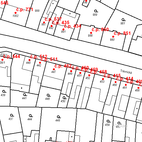 Katastrální mapa Stavební objekt Bučovice 460, Bučovice