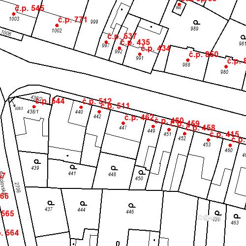 Katastrální mapa Stavební objekt Bučovice 462, Bučovice