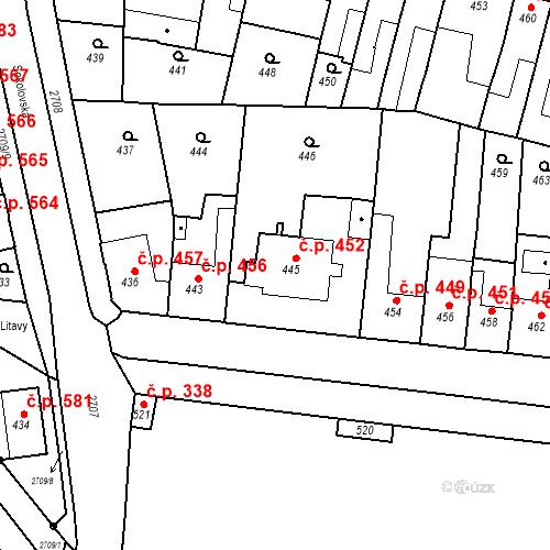 Katastrální mapa Stavební objekt Bučovice 452, Bučovice