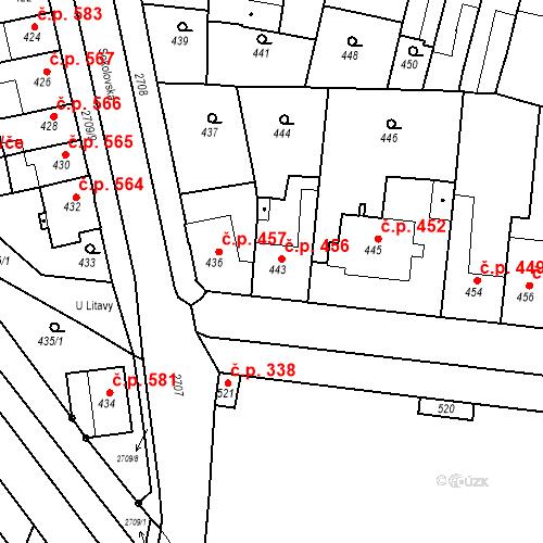 Katastrální mapa Stavební objekt Bučovice 456, Bučovice
