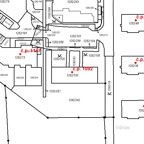 Katastrální mapa Stavební objekt Bučovice 1092, Bučovice