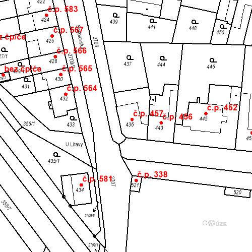 Katastrální mapa Stavební objekt Bučovice 457, Bučovice