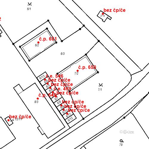 Katastrální mapa Stavební objekt Bučovice 650, Bučovice