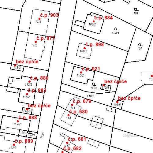 Katastrální mapa Stavební objekt Bučovice 921, Bučovice