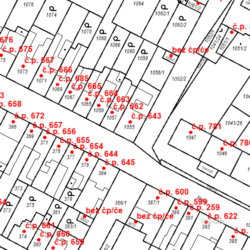 Katastrální mapa Stavební objekt Bučovice 643, Bučovice